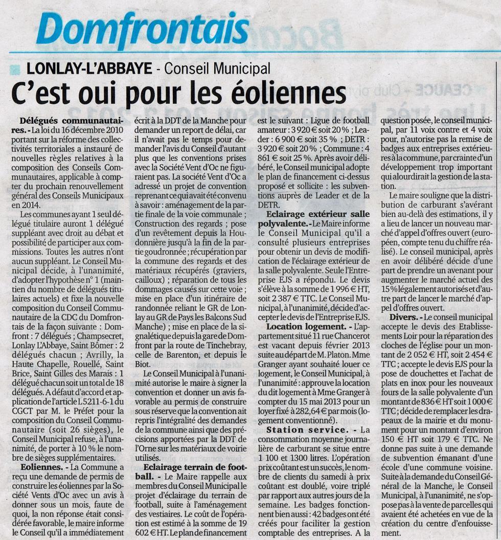 """Article paru dans le """"Publicateur Libre"""" du 4 juillet 2013."""