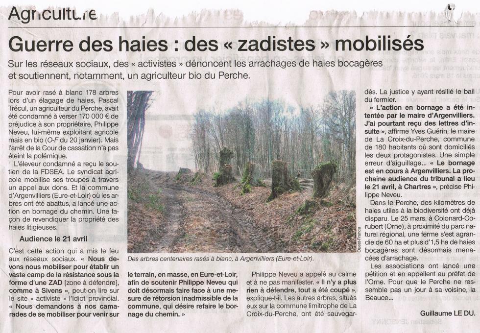 """Article paru dans le """"Ouest-France"""" des 17 et 18 avril 2015."""