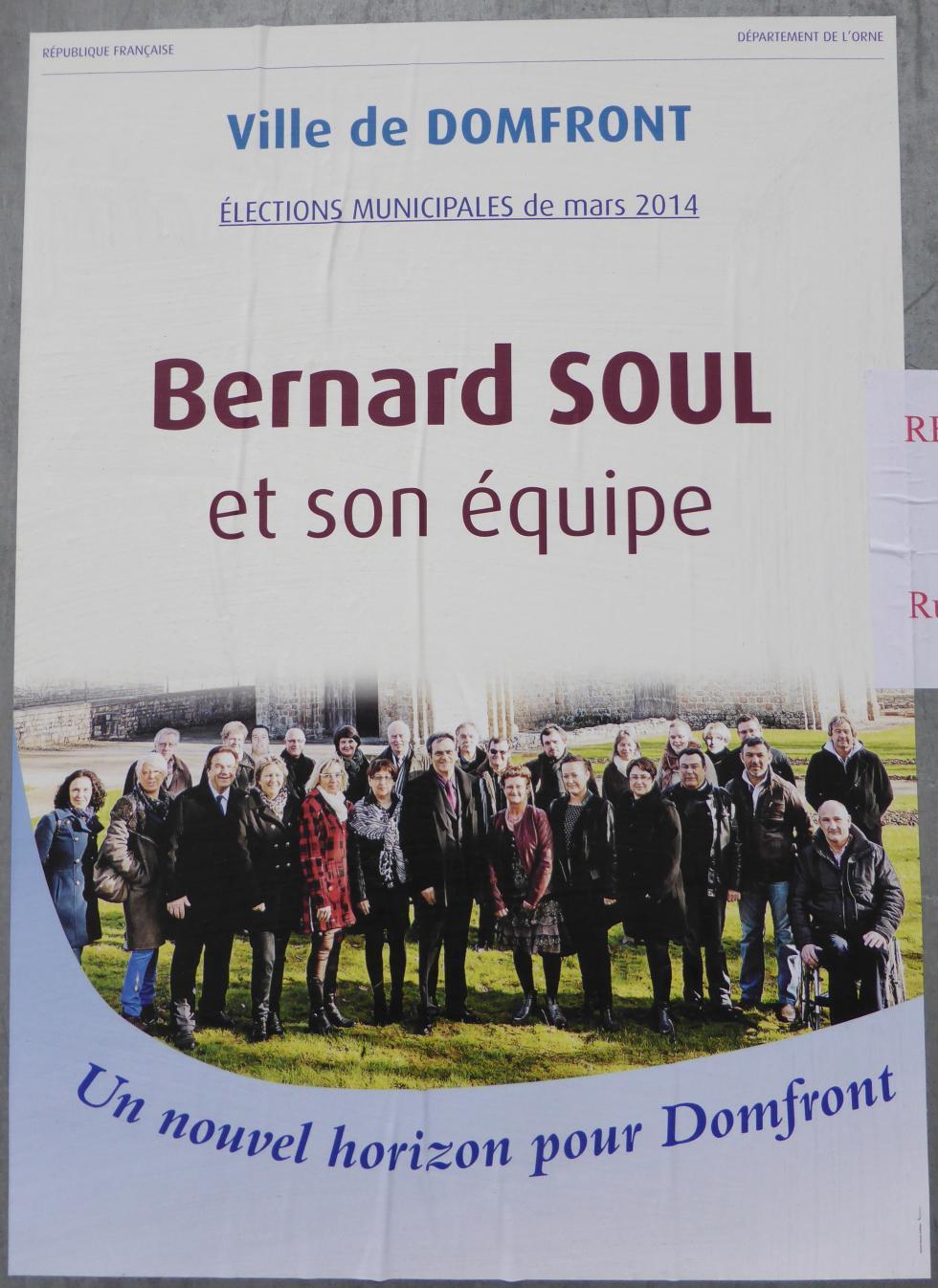 L'affiche électorale du candidat Bernard SOUL.