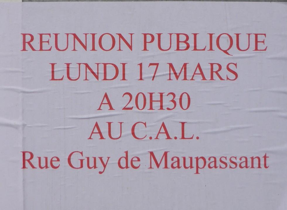 L'annonce de la réunion du candidat Bernard SOUL.