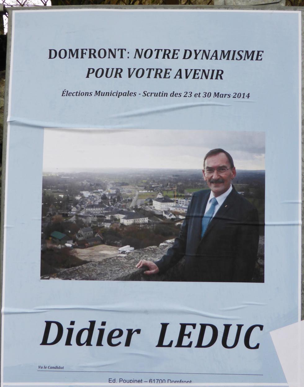 L'affiche électorale du maire sortant de Domfront.
