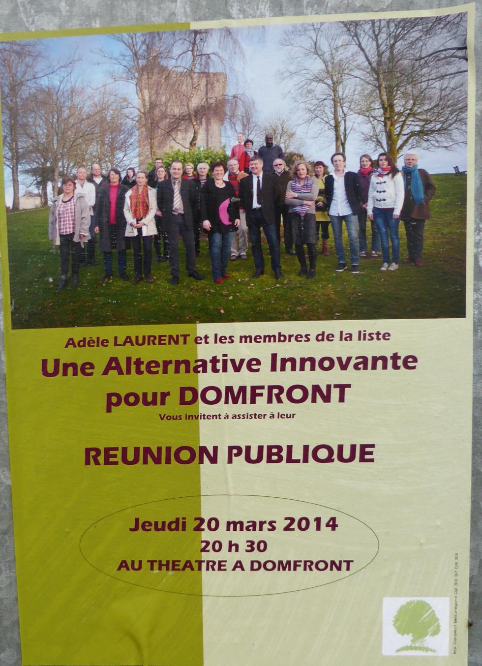 L'annonce de la réunion de la candidate Adèle LAURENT.