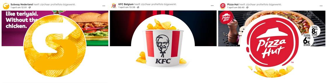 Le 1er avril, les logos Pizza Hut™, KFC® et Subway® ont été modifiés sur les réseaux sociaux des 3 marques.