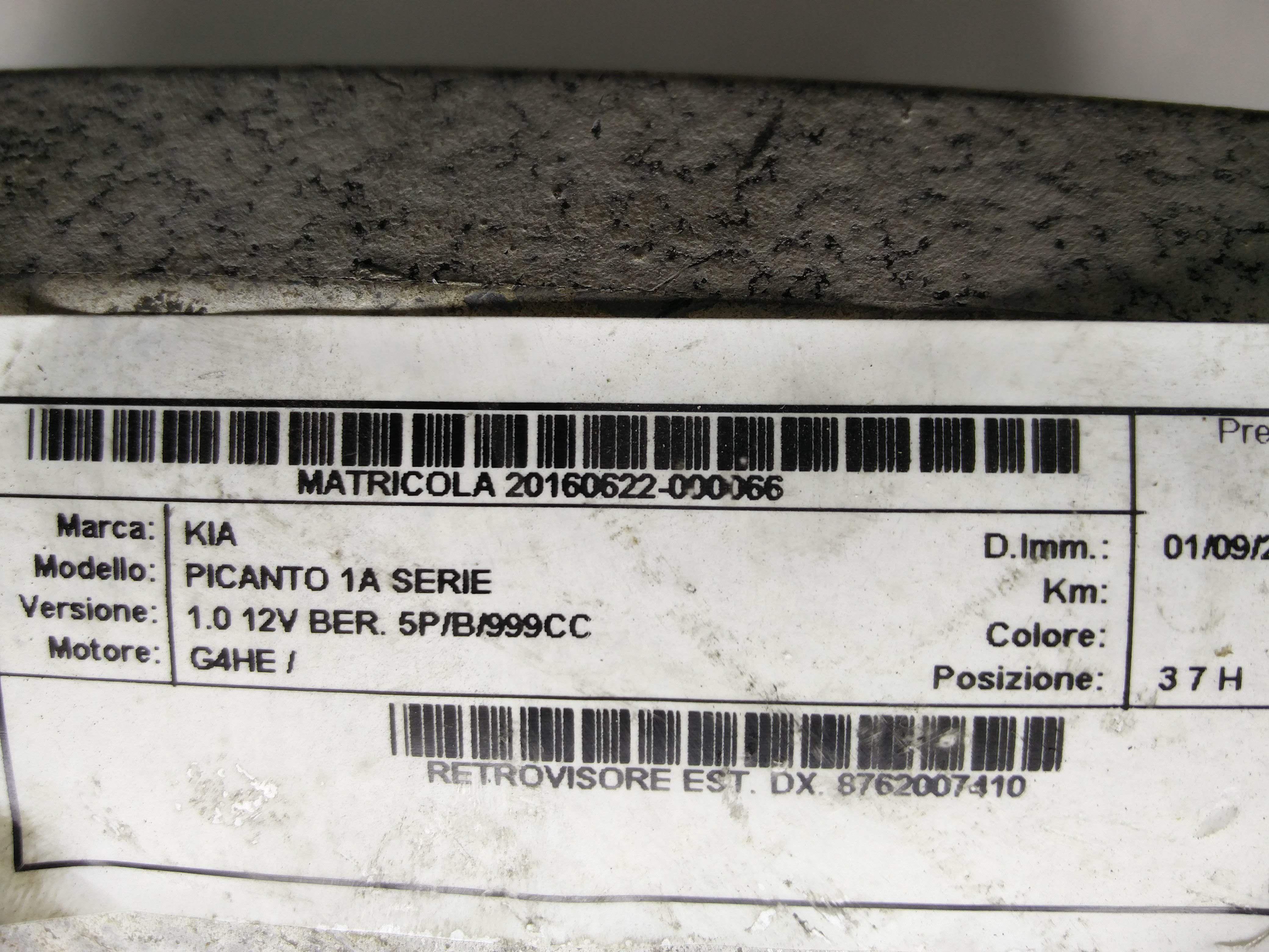 SPECCHIETTO RETROVISORE DESTRO KIA Picanto 1° Serie  Benzina    () RICAMBI USATI
