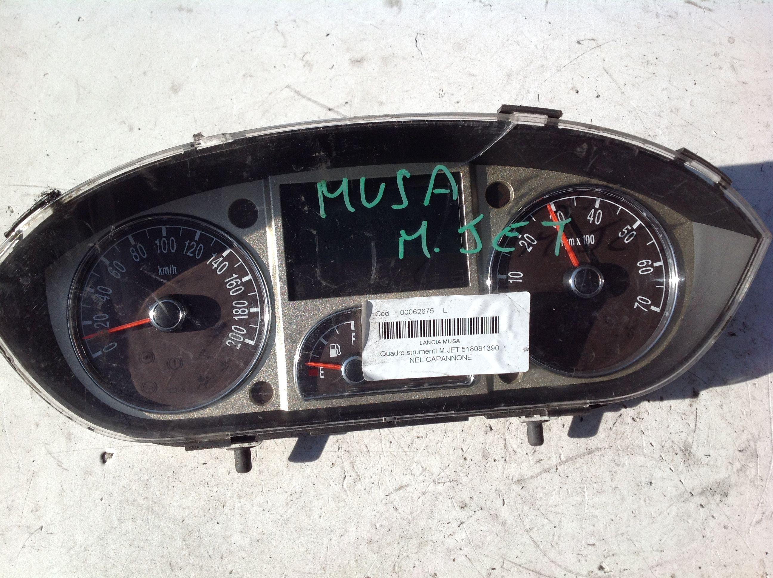 518081390 QUADRO STRUMENTI LANCIA Musa 2° Serie Diesel  (2010) RICAMBI USATI