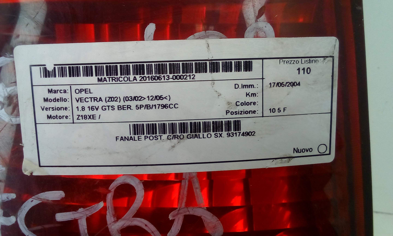 FANALE RETROVISORE DESTRO PER OPEL VECTRA C BERLINA Giallo Lampada Posteriore Fanale RETROVISORE