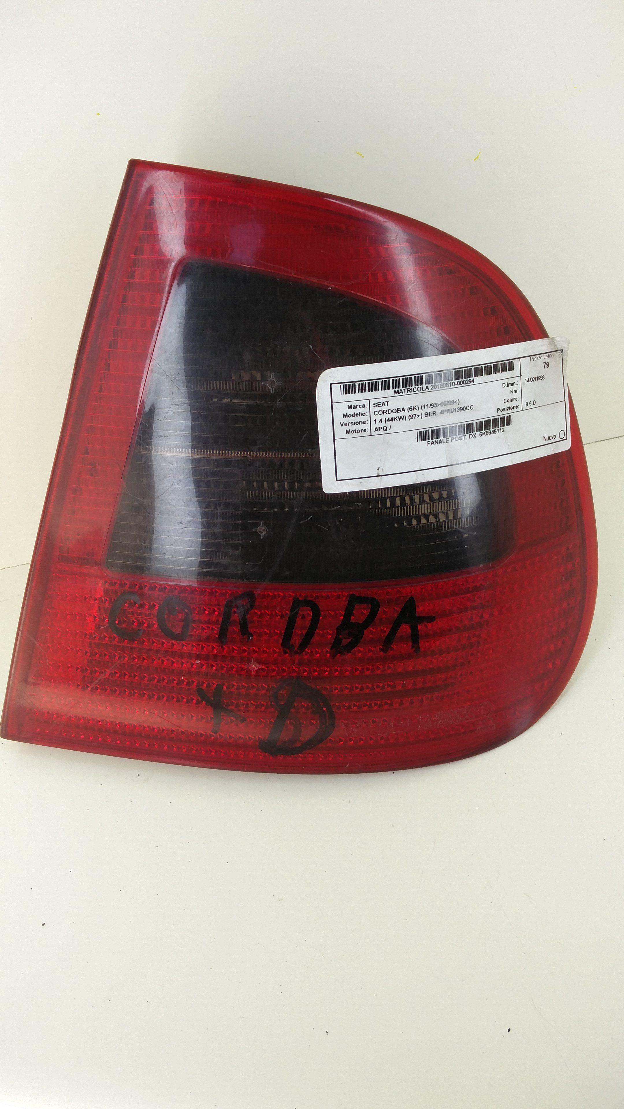 STOP FANALE POSTERIORE DESTRO PASSEGGERO SEAT Cordoba Berlina 1° Serie 1400 Benzina  (1996) RICAMBI USATI