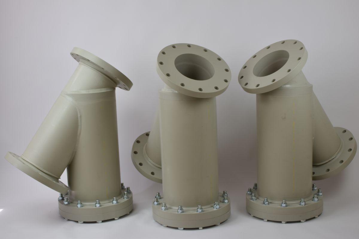 Filtres DN250 en PP-H avec cartouche et maille de filtration sur mesure