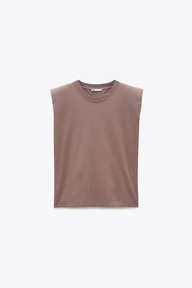 t-shirt avec epaulettes de zara