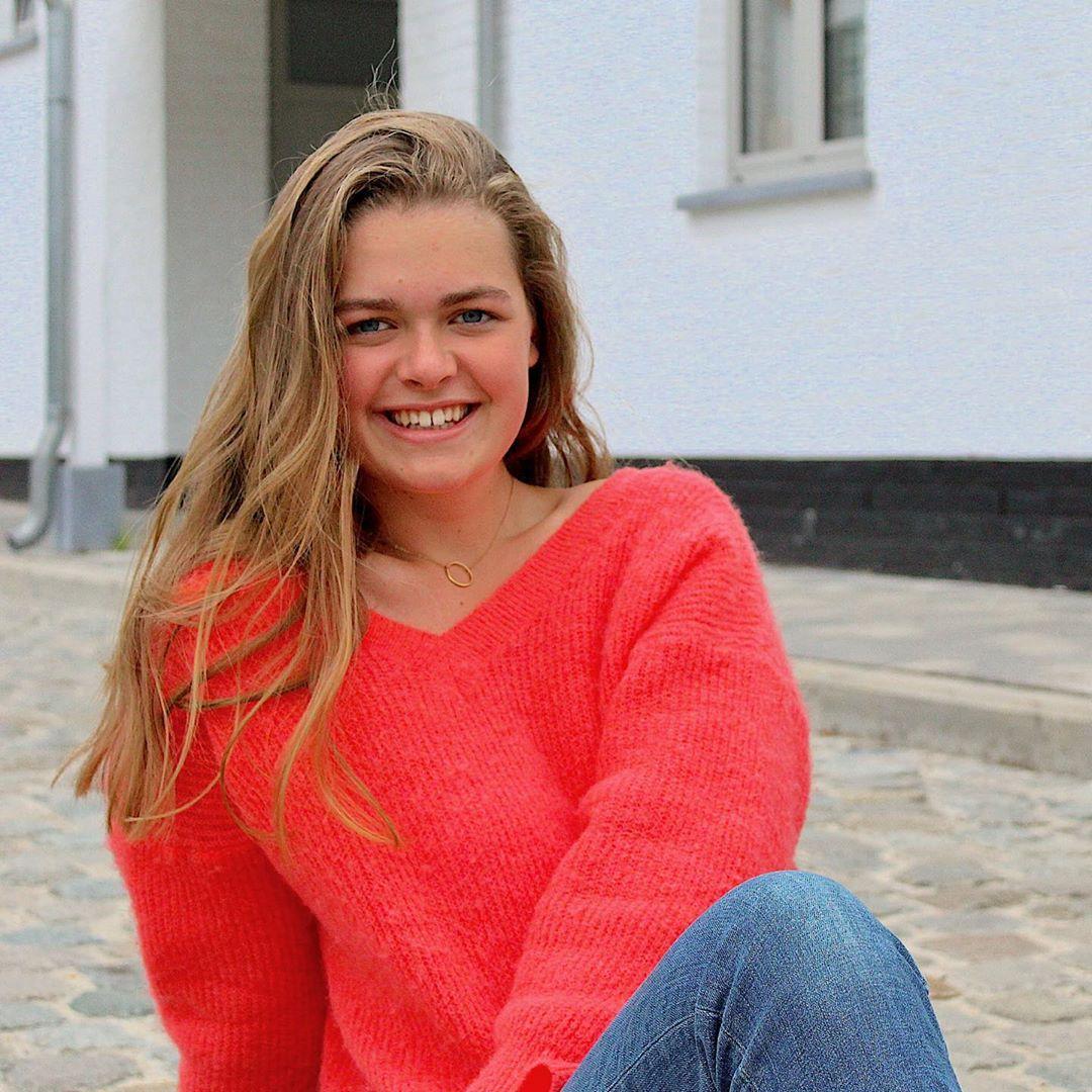 red v-neck sweater de Les Bourgeoises sur margamout