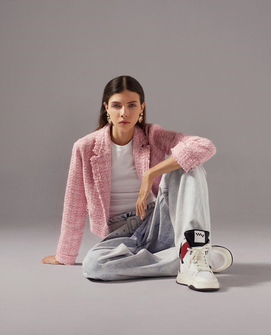 short tailor jacket with houndstook print de Bershka sur bershkacollection