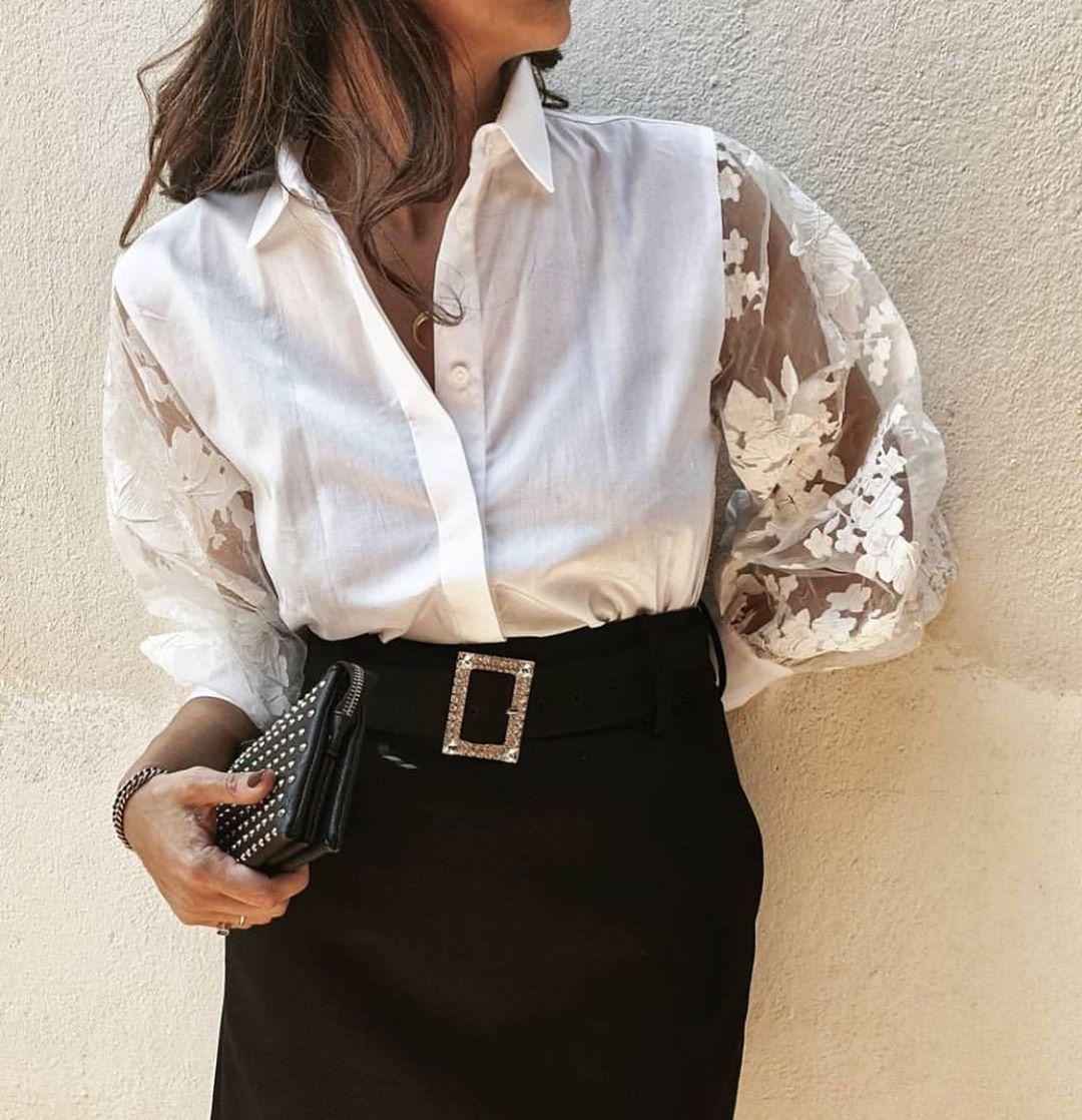 chemise avec manches en organza de Zara sur zara.mania