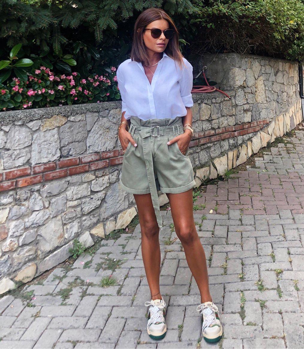 pleated waist shorts de Zara sur nazifeeozcan