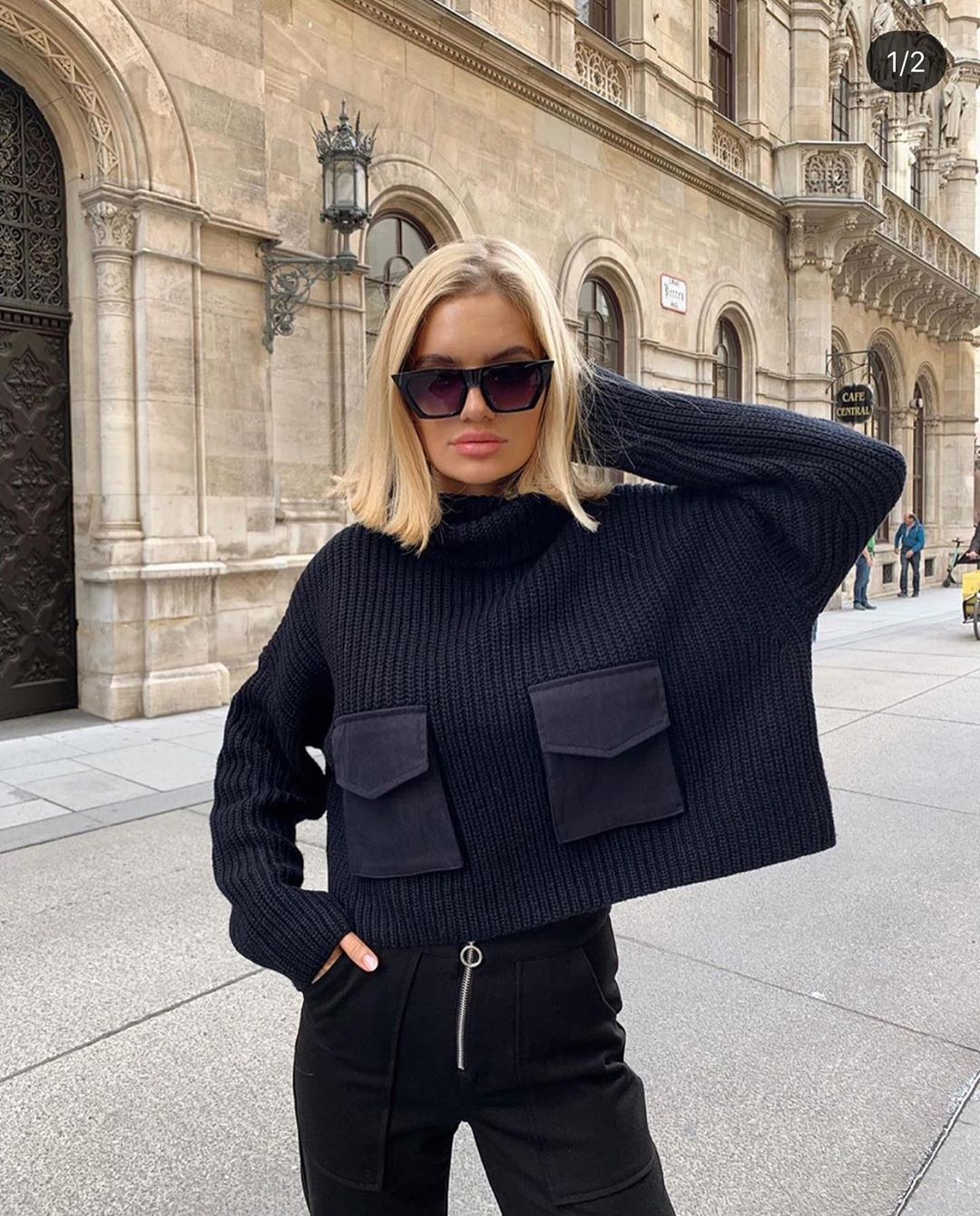 sweater with pockets de Zara sur zarastreetstyle