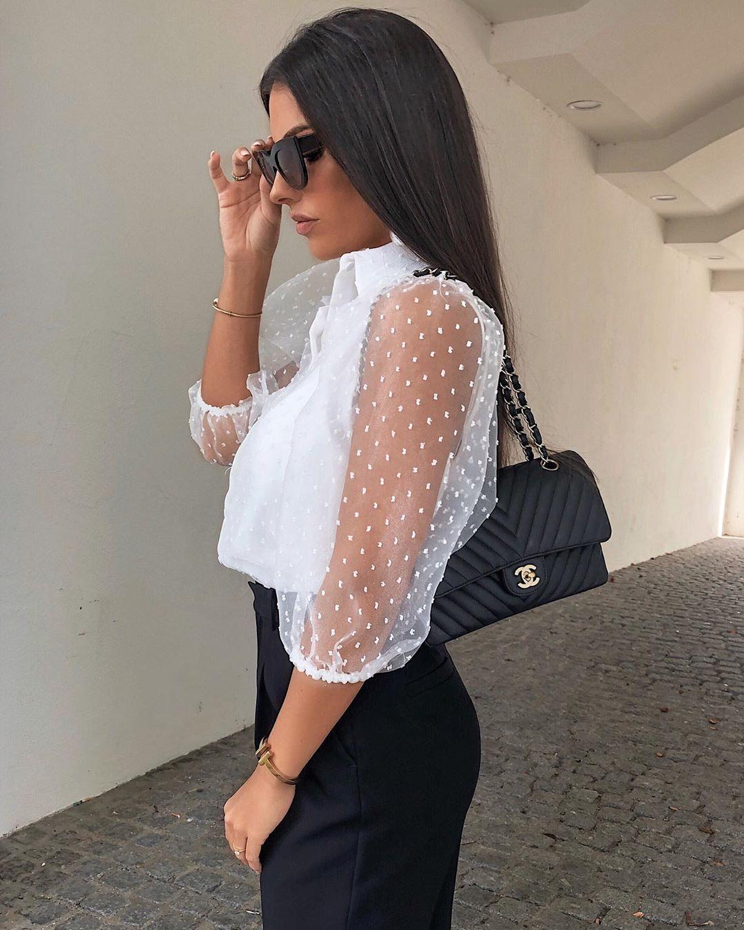 organza blouse with volume sleeves de Zara sur rominaluciia