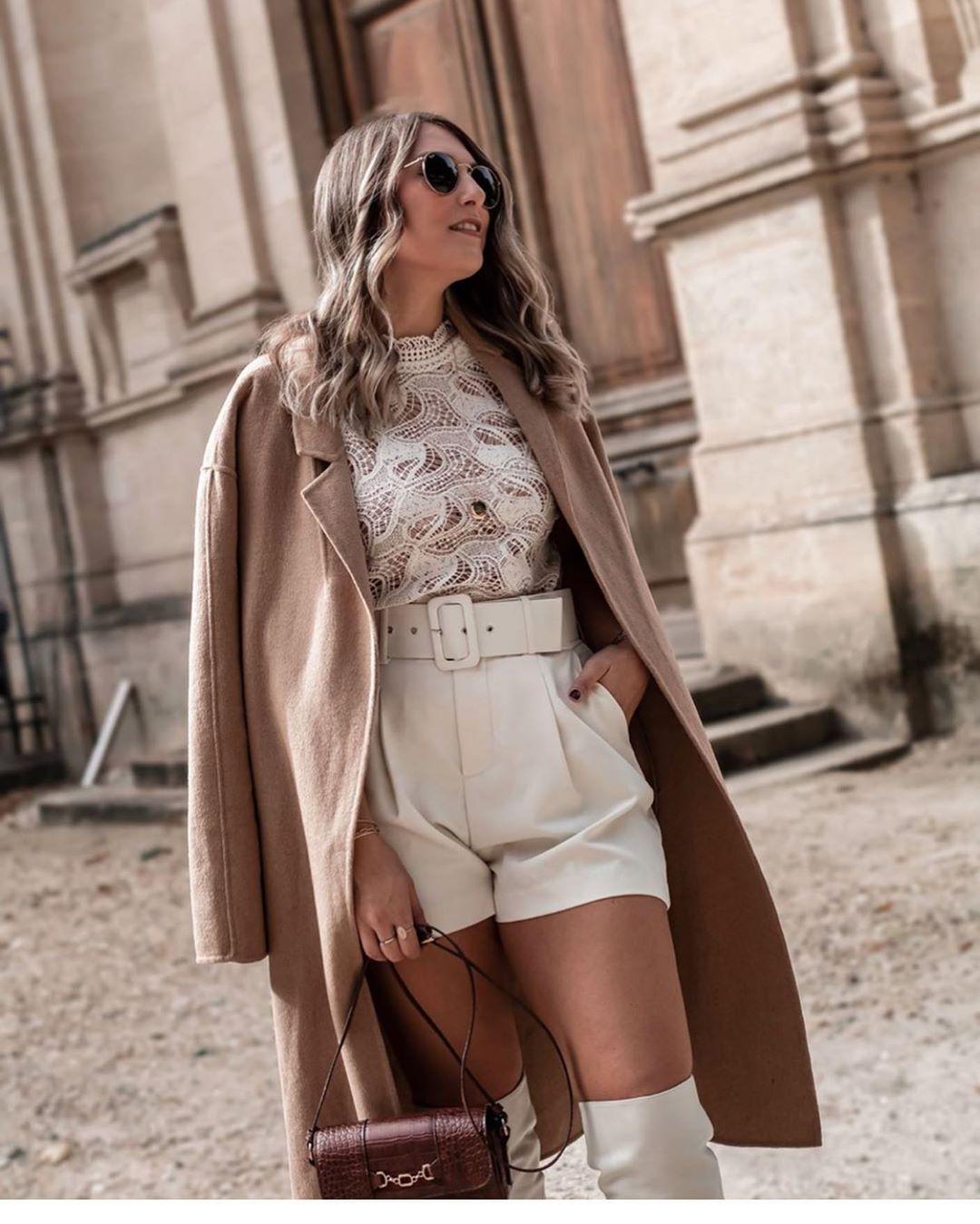 short en cuir synthétique avec ceinture de Zara sur zara.outfits