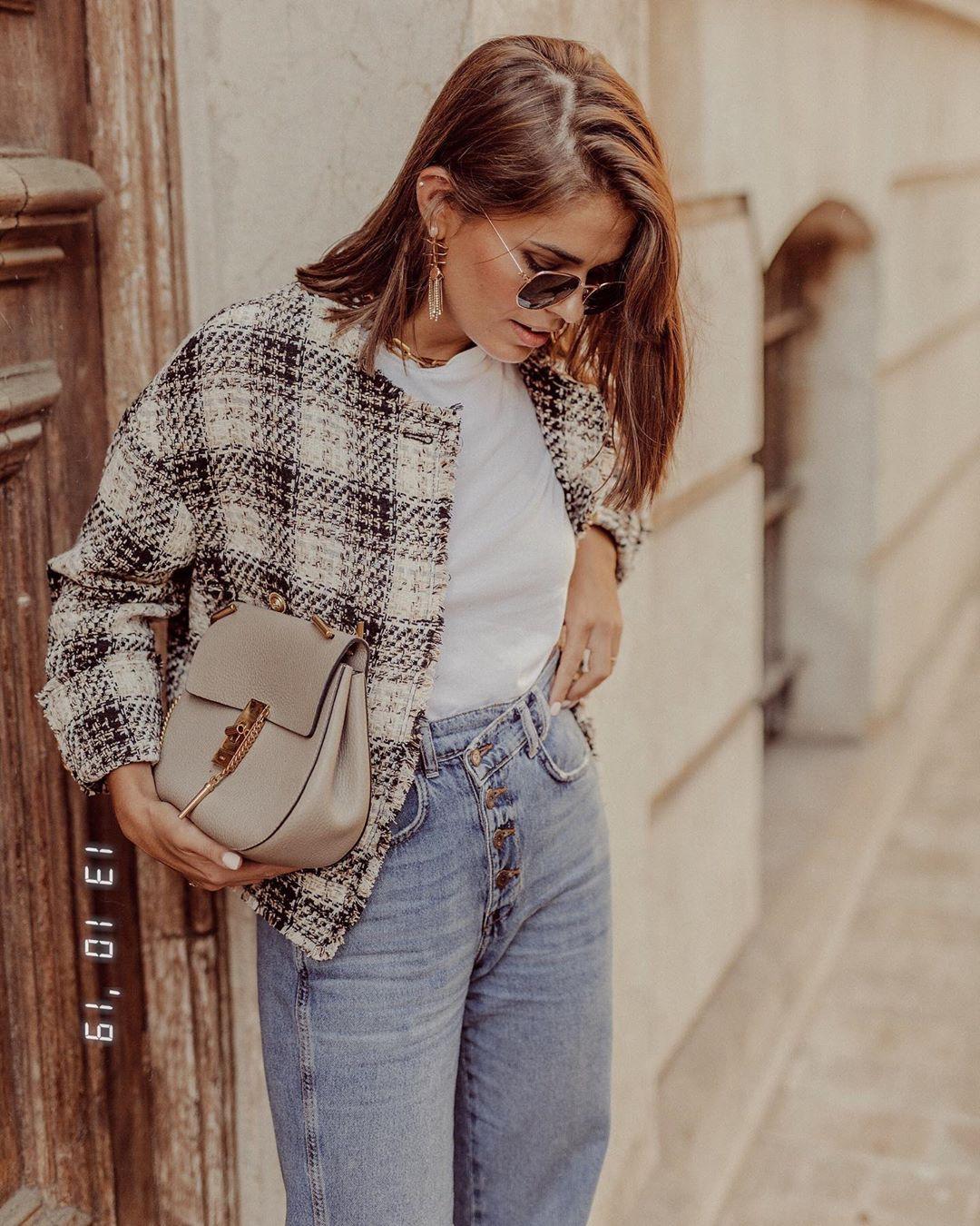 plaid tweed jacket de Zara sur jessiekass