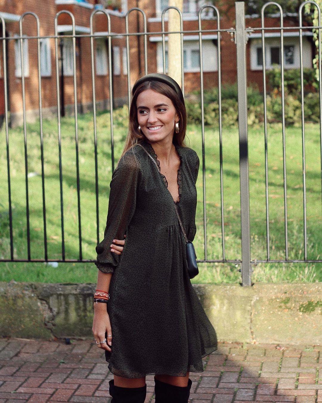 printed flowing dress de Zara sur natichualcantara