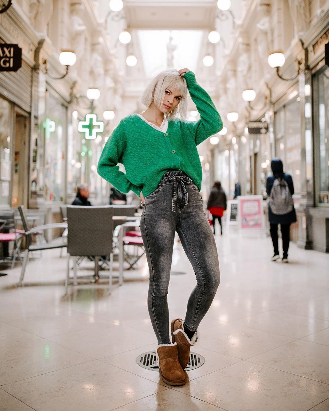 jeans gris taille haute de Les Bourgeoises sur lesbourgeoisesofficiel