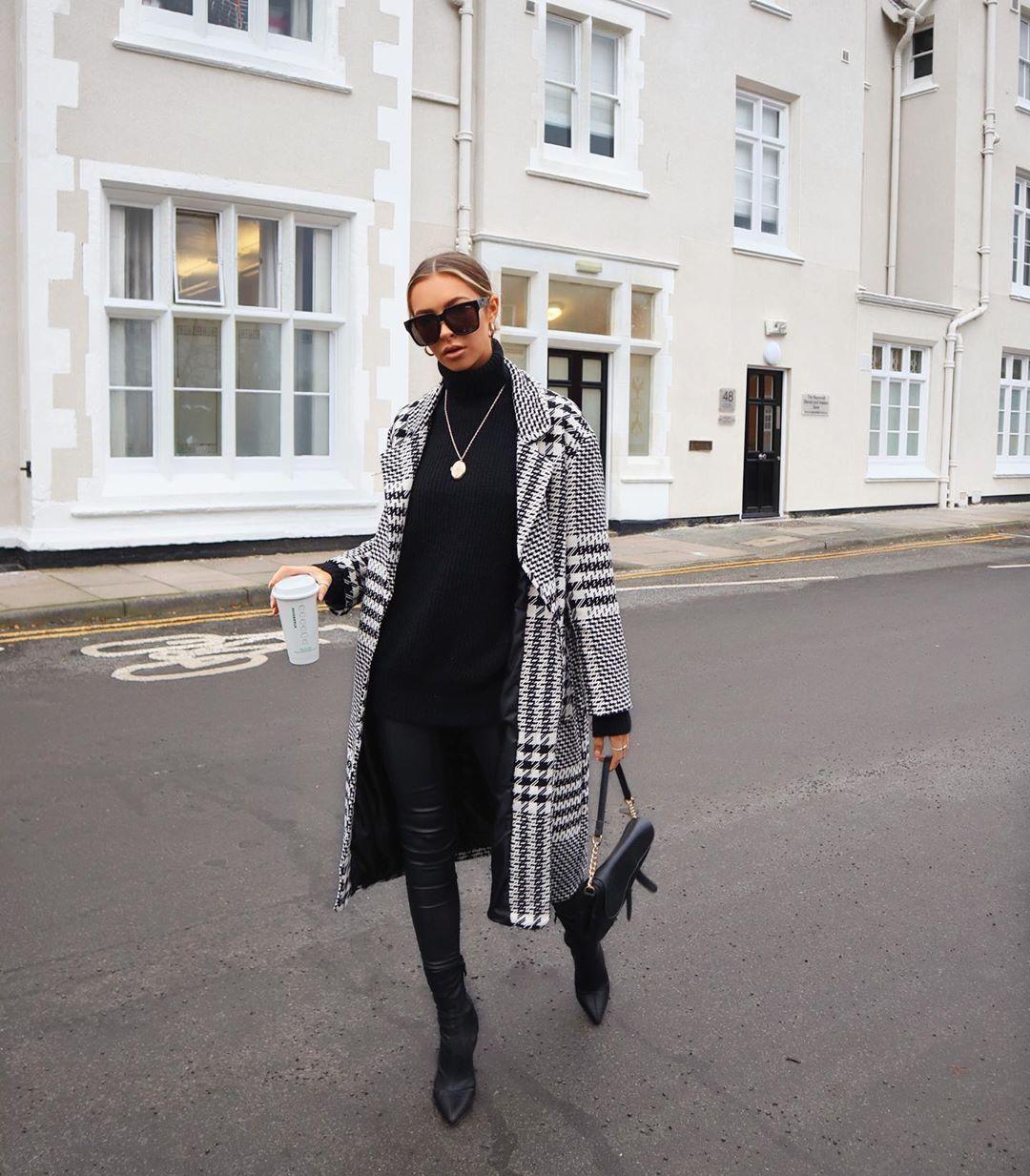 houndstooth print coat de Zara sur alexxcoll