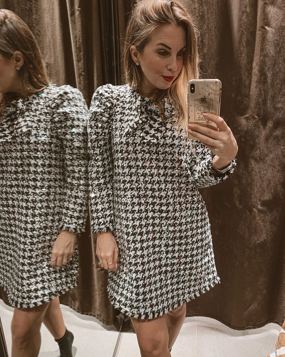 houndstooth sequins dress de Zara sur g_for_grace