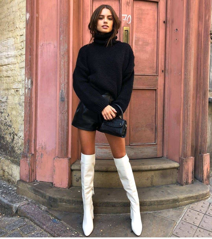 high heeled leather knee high boots de Zara sur street_style_paris