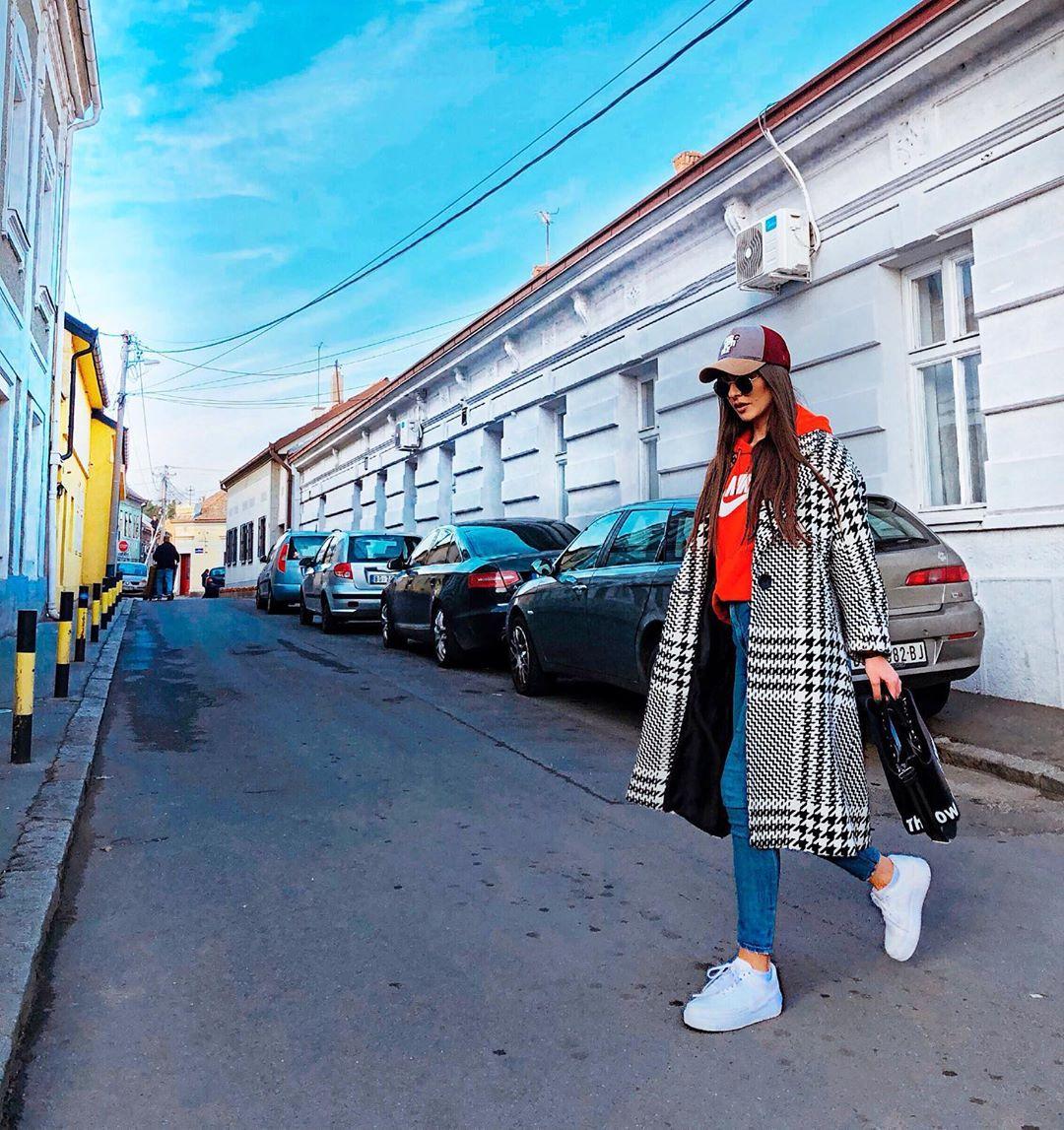 houndstooth print coat de Zara sur ikacaaaa
