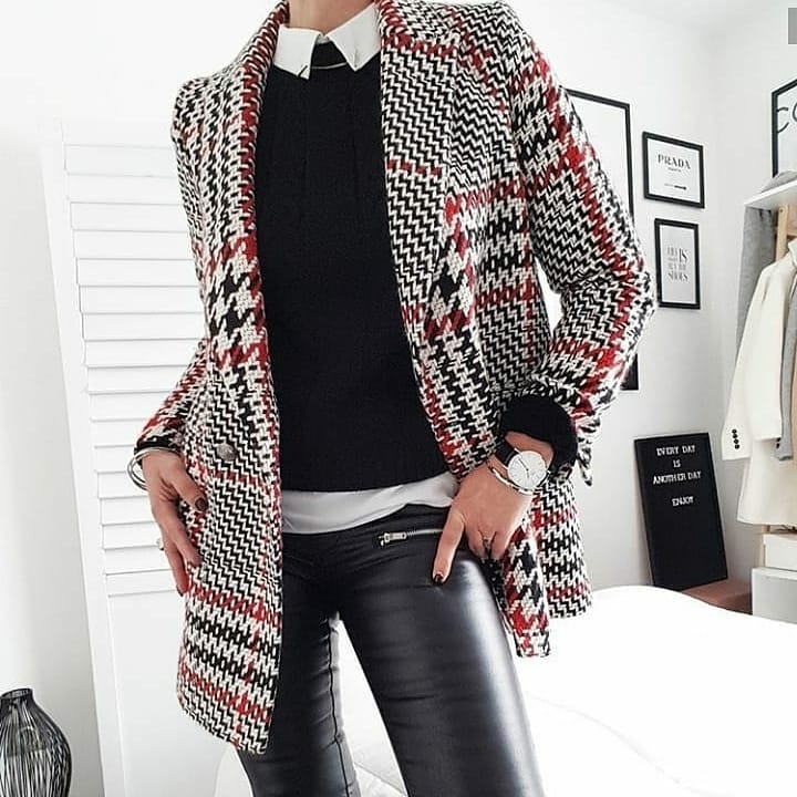 crossbreasted and checkered jacket de Zara sur italy_top_fashion