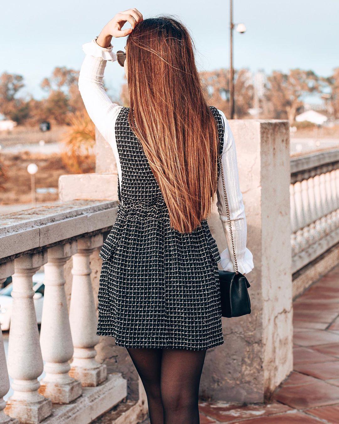 tweed bib overalls dress de Zara sur maricarmencarrionmateo