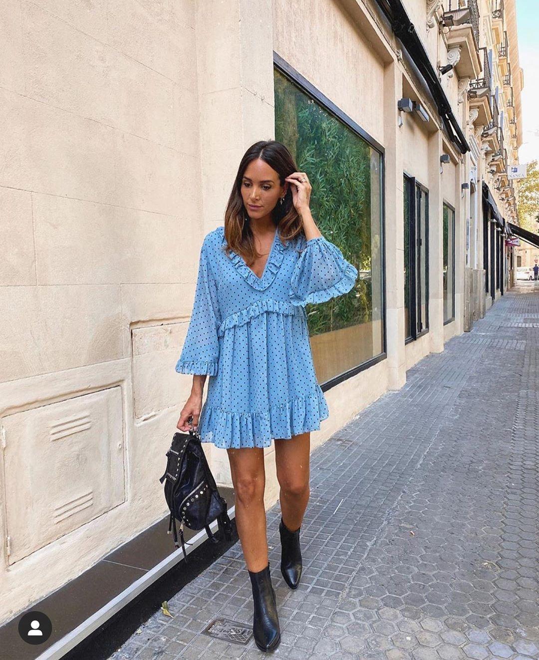 dress with polka dot and ruffles de Zara sur zarastreetstyle