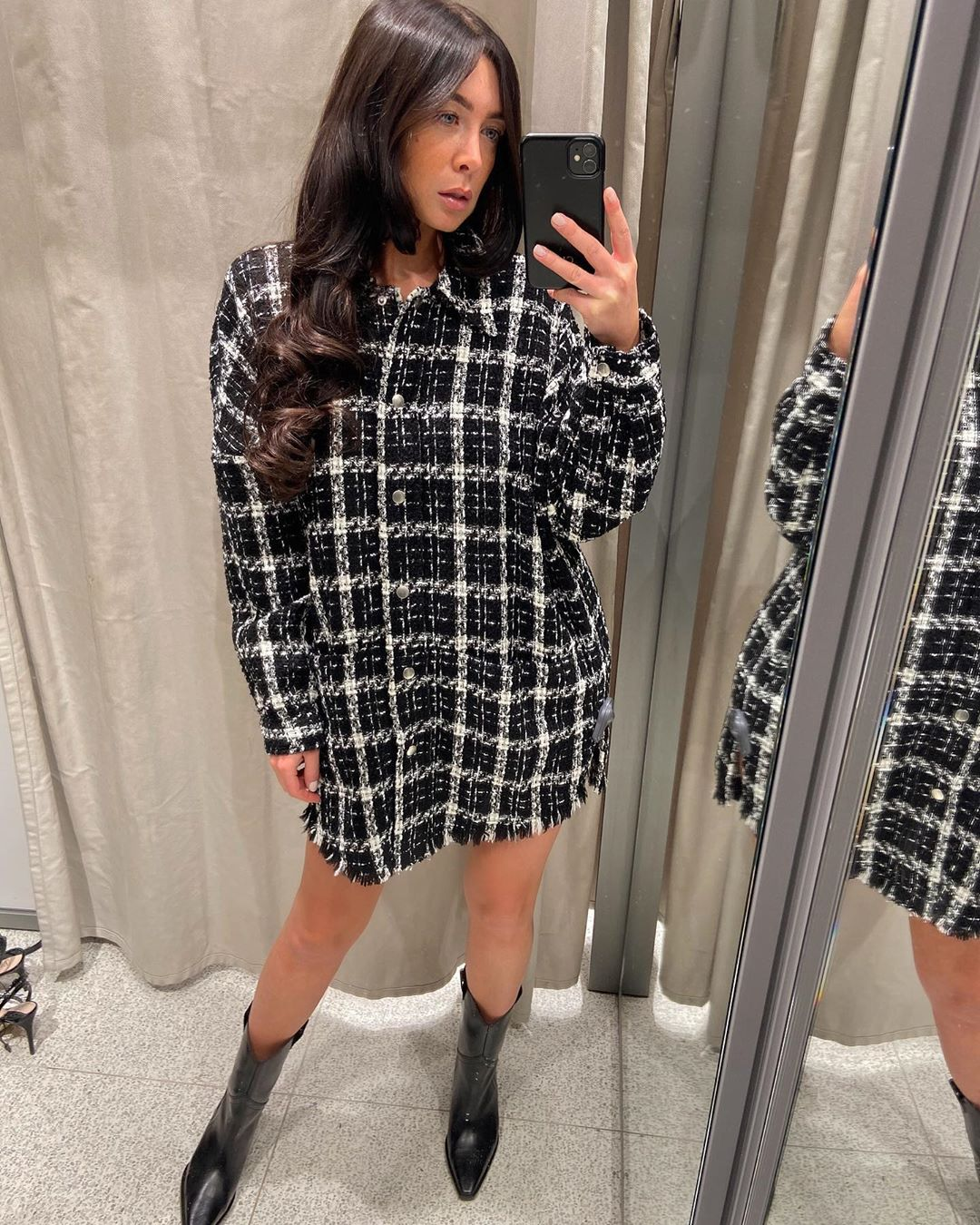 plaid tweed jacket de Zara sur courtbyafeather