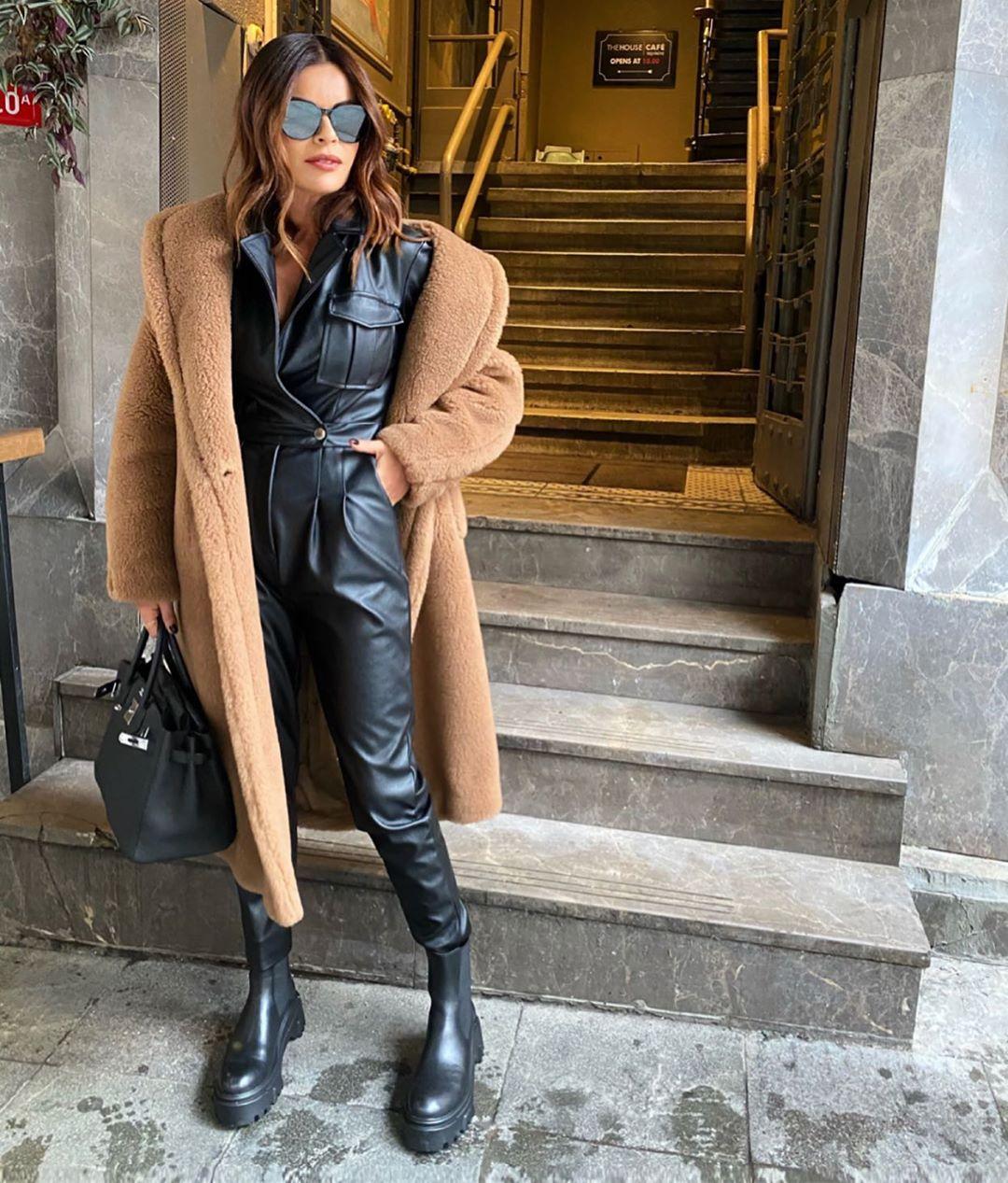 leather ankle boots track sole de Zara sur nazifeeozcan