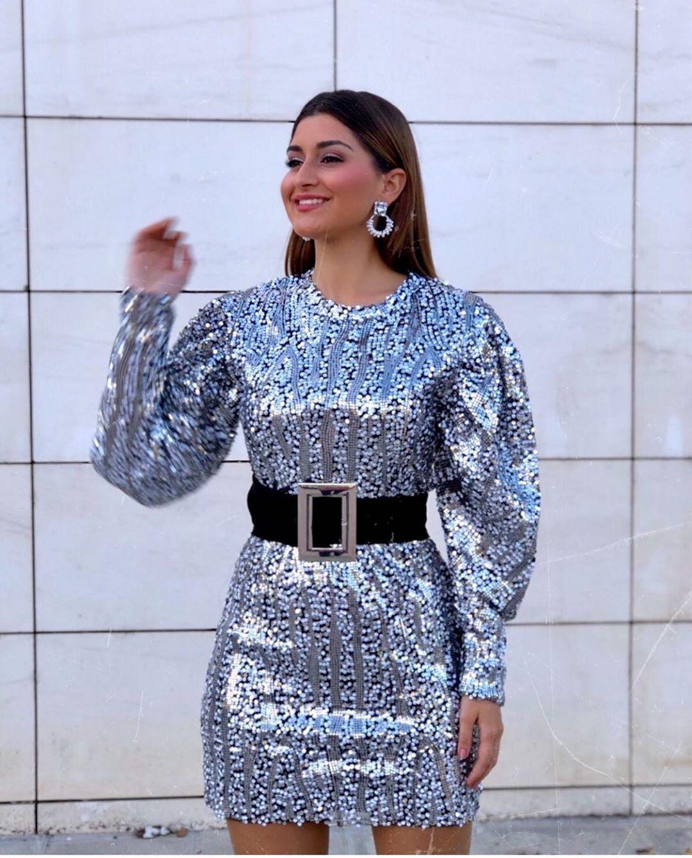 robe à paillettes et ceinture de Zara sur zara.outfits