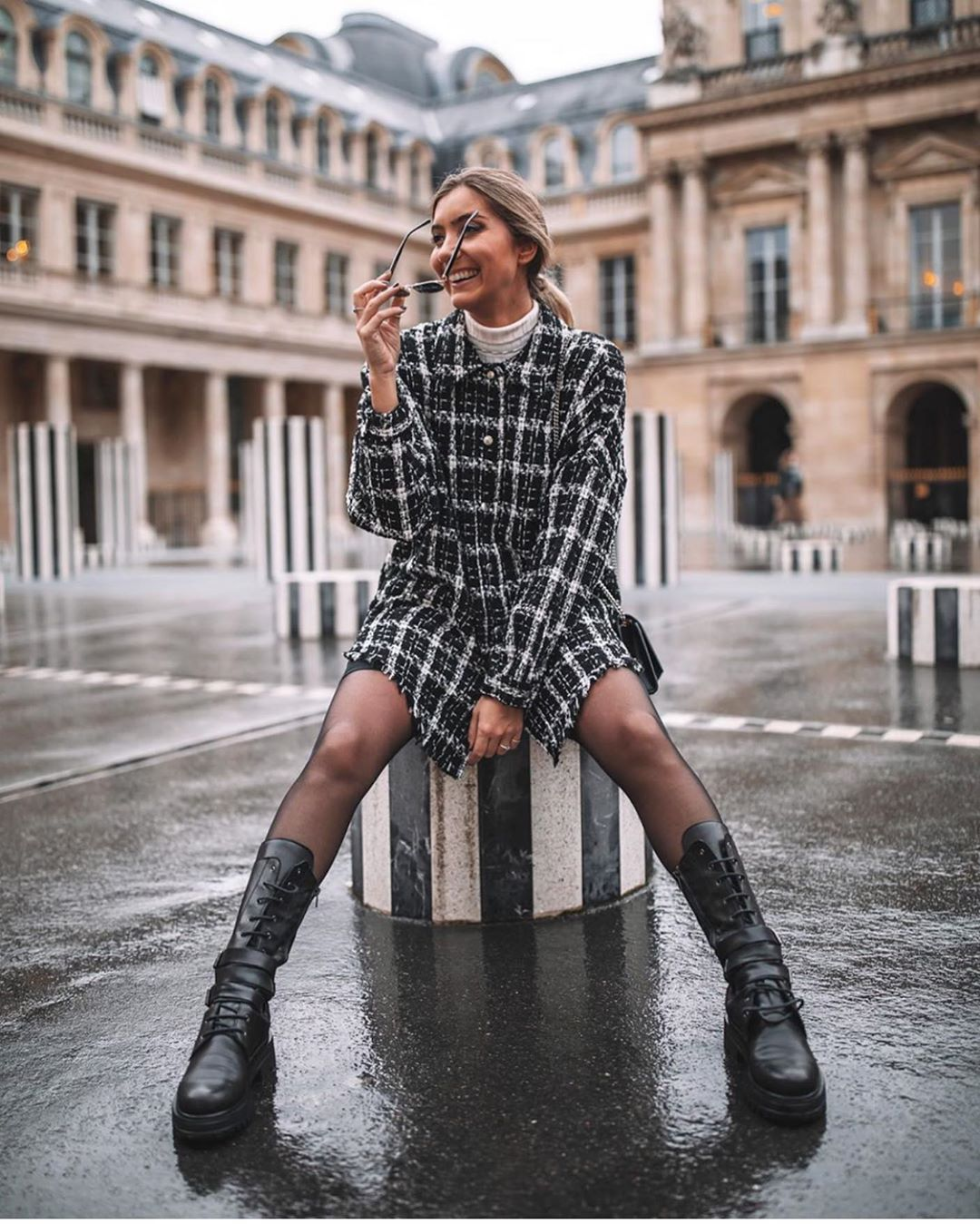 veste en tweed à carreaux de Zara sur zara.outfits