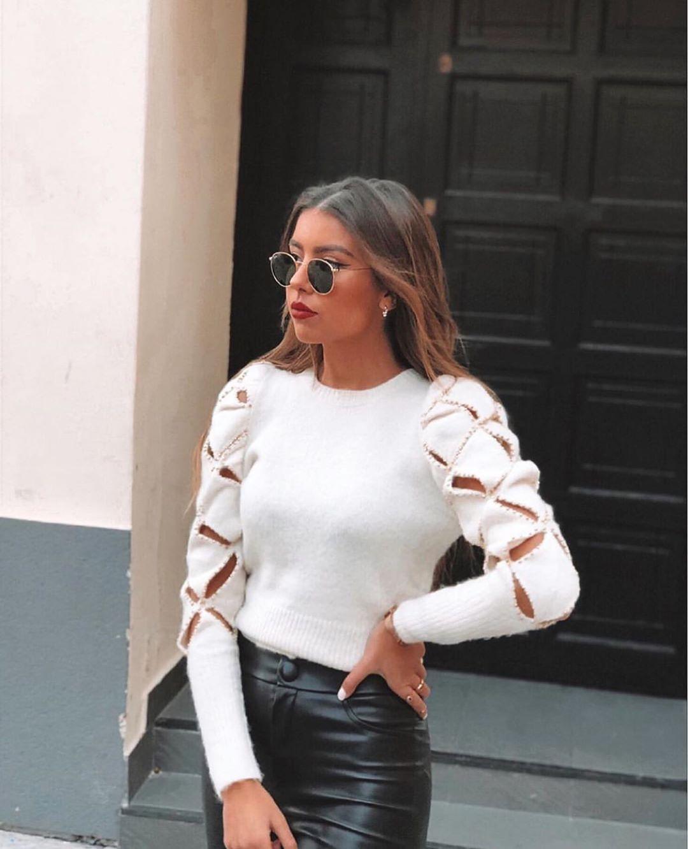 pull à losanges ajourés de Zara sur zara.outfits