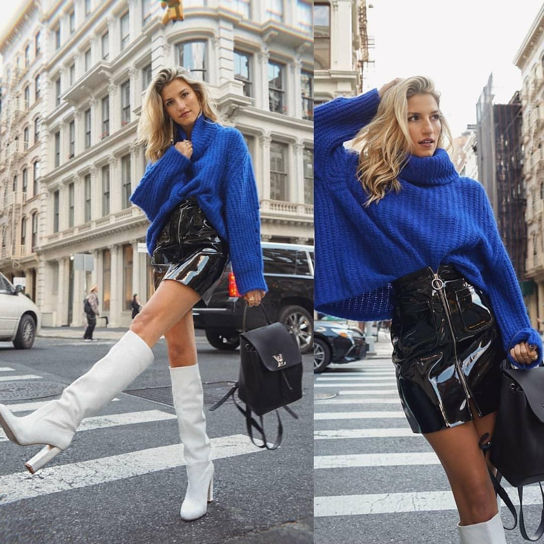 high heeled leather knee high boots de Zara sur thebreathefashion