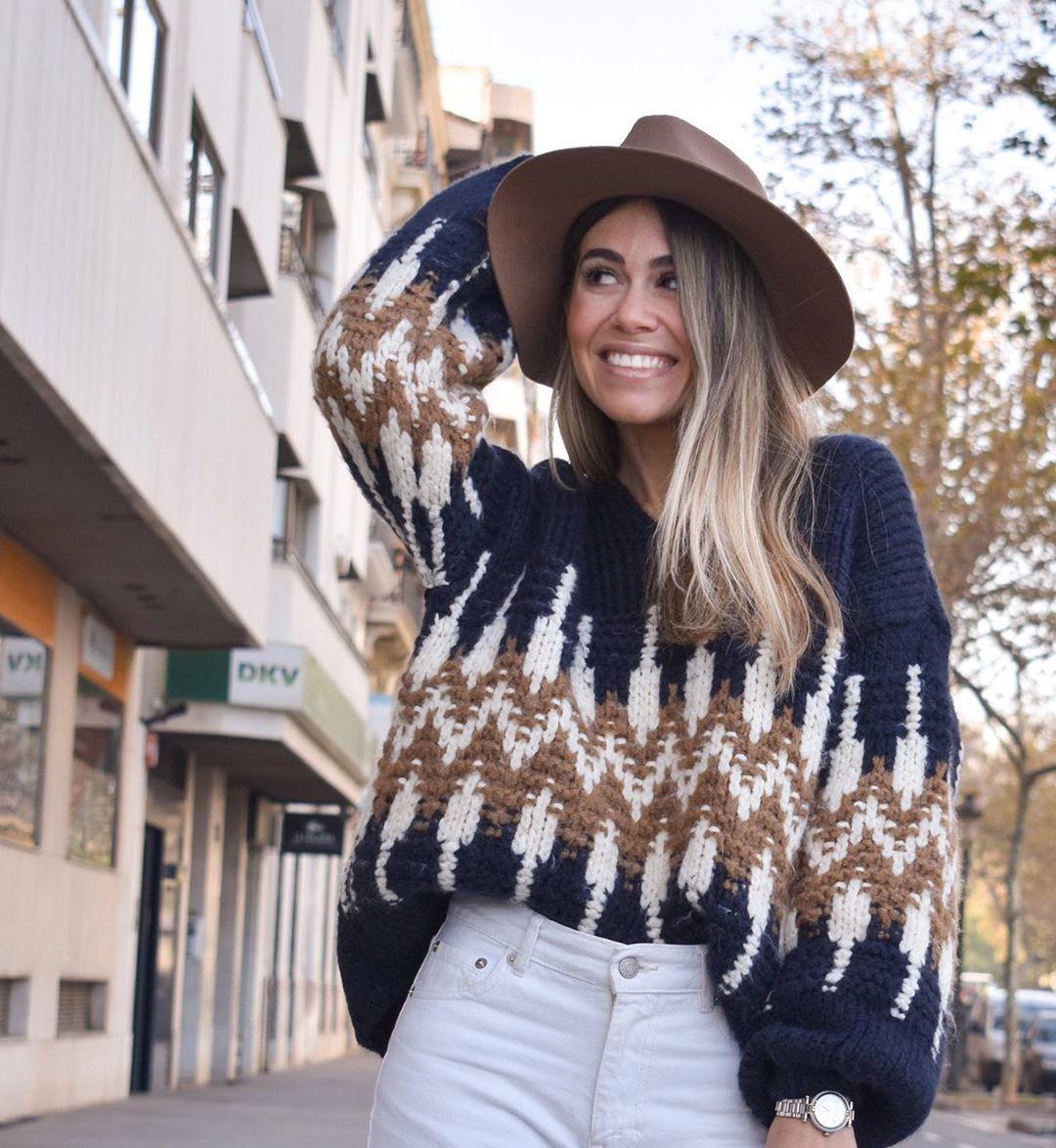 jacquard sweater with puff sleeves de Zara sur miriammaestre_