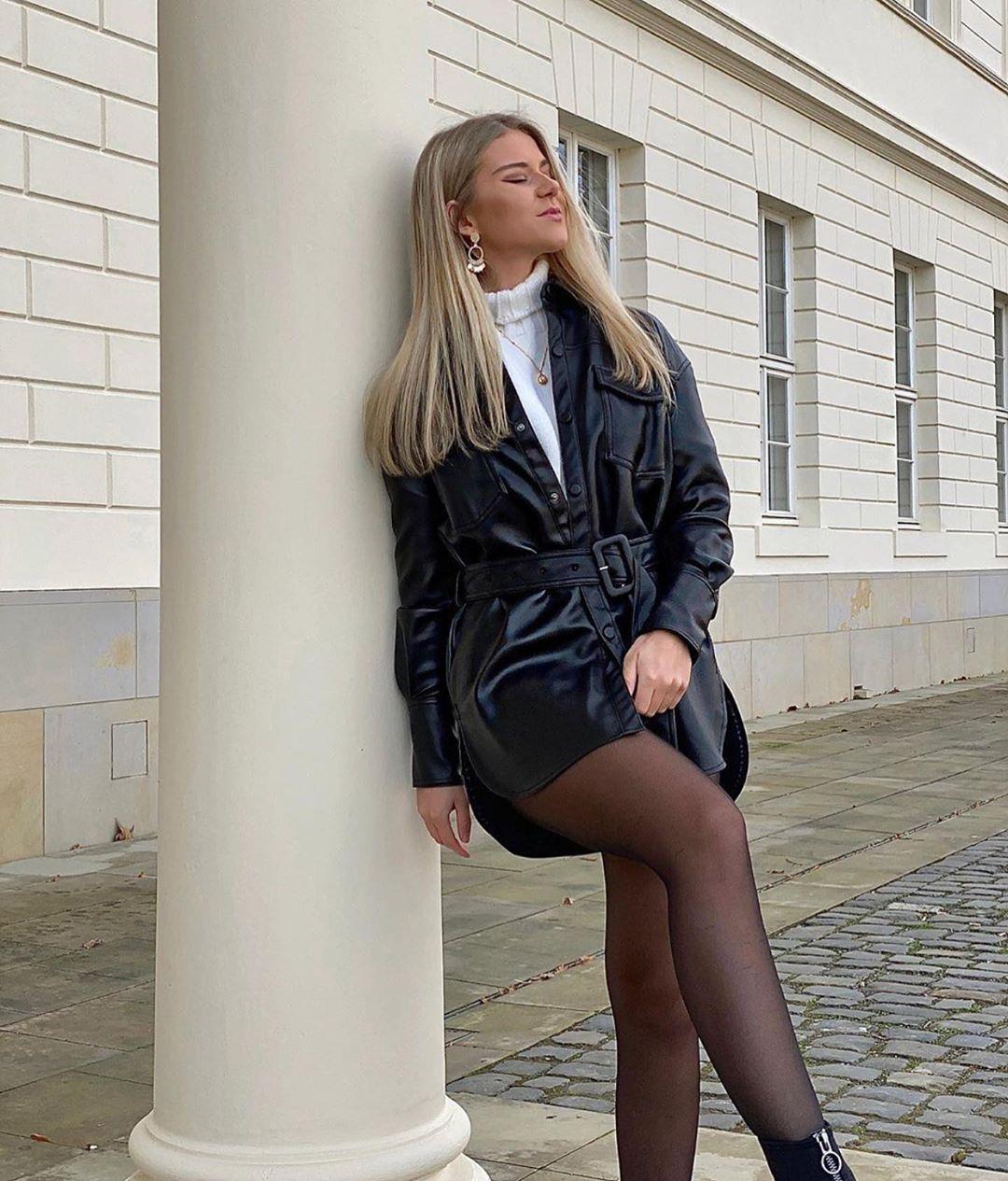 synthetic leather jacket de Zara sur zaraaddiction