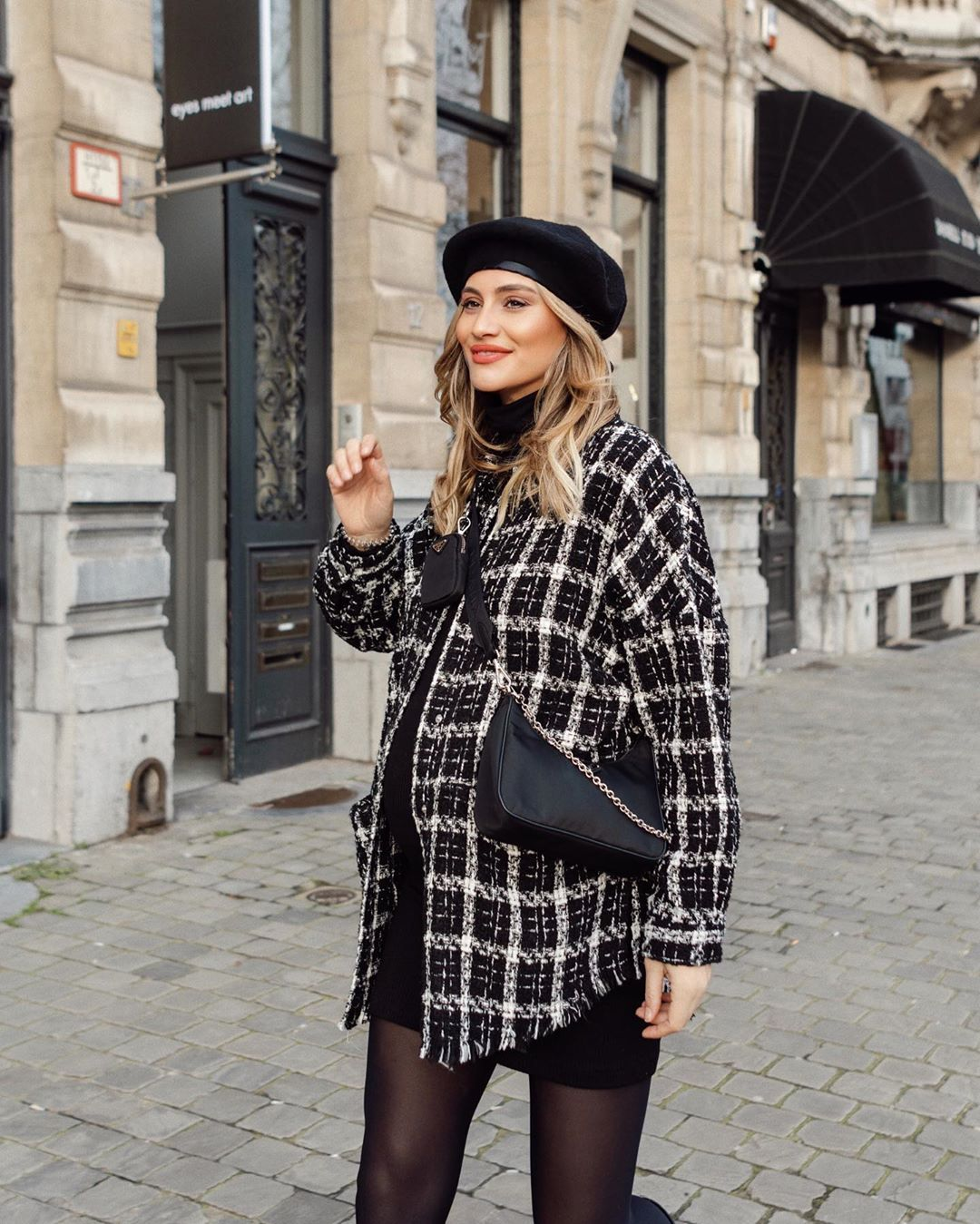 plaid tweed jacket de Zara sur limaswardrobe