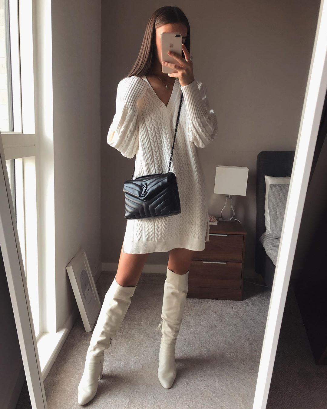 high heeled leather knee high boots de Zara sur whatemwore