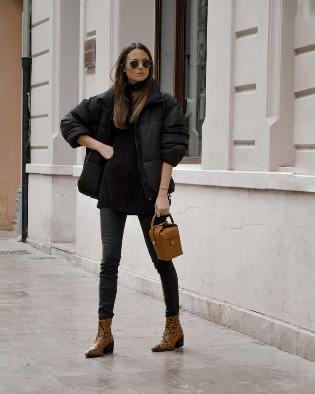 contrast quilted long coat de Pull and Bear sur lookfortime