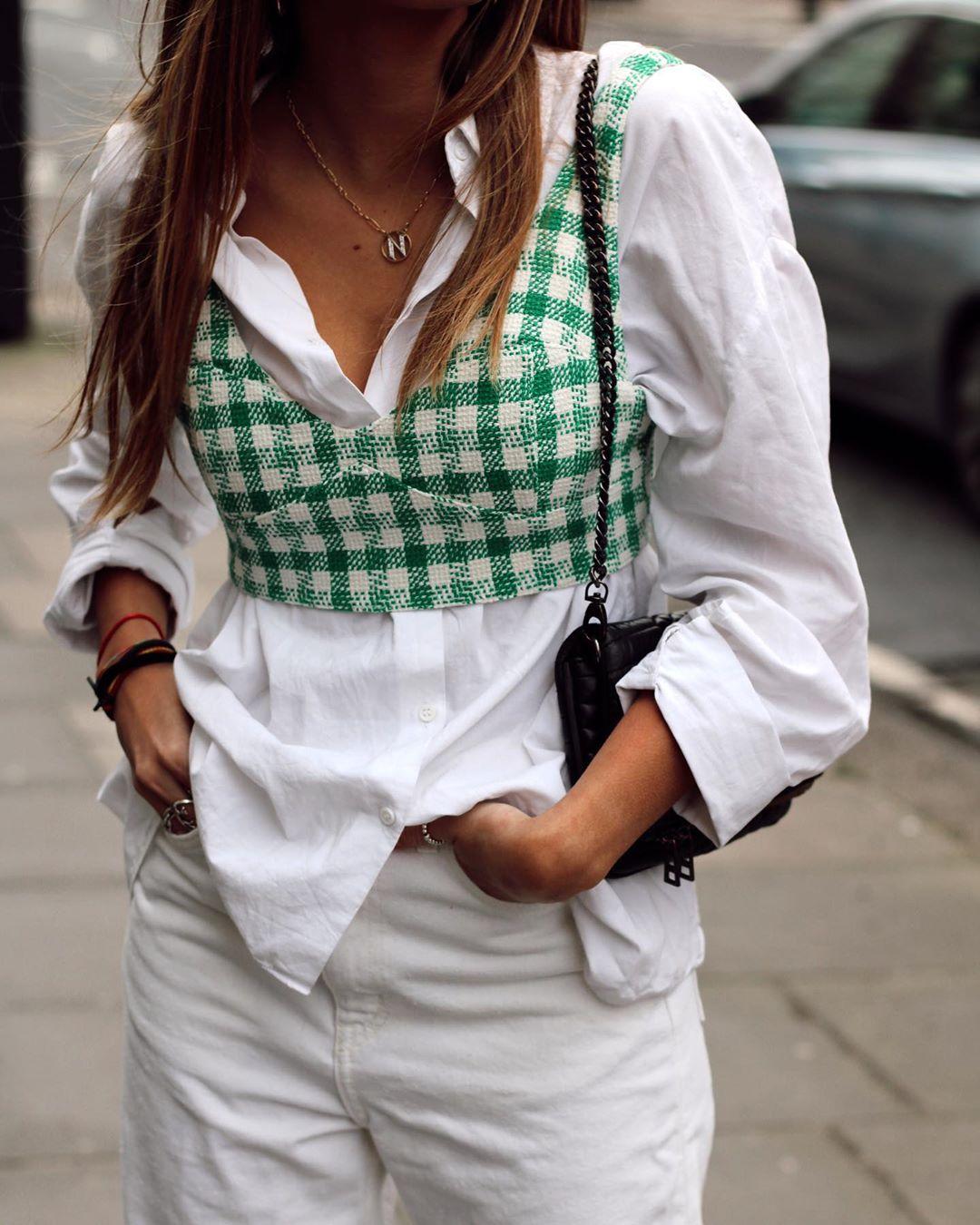 tweed short top de Zara sur natichualcantara