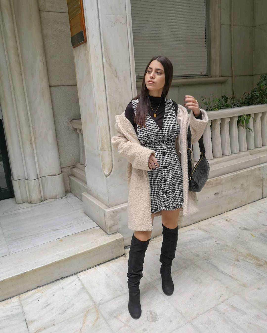 tweed bib overalls dress de Zara sur fay_cmm