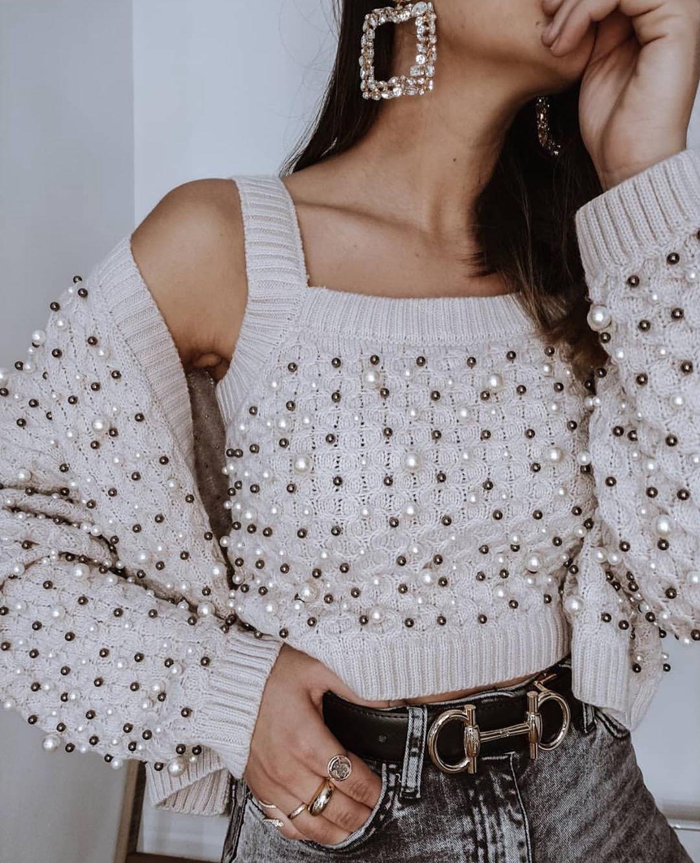 gilet en maille à perles de Zara sur zara.outfits