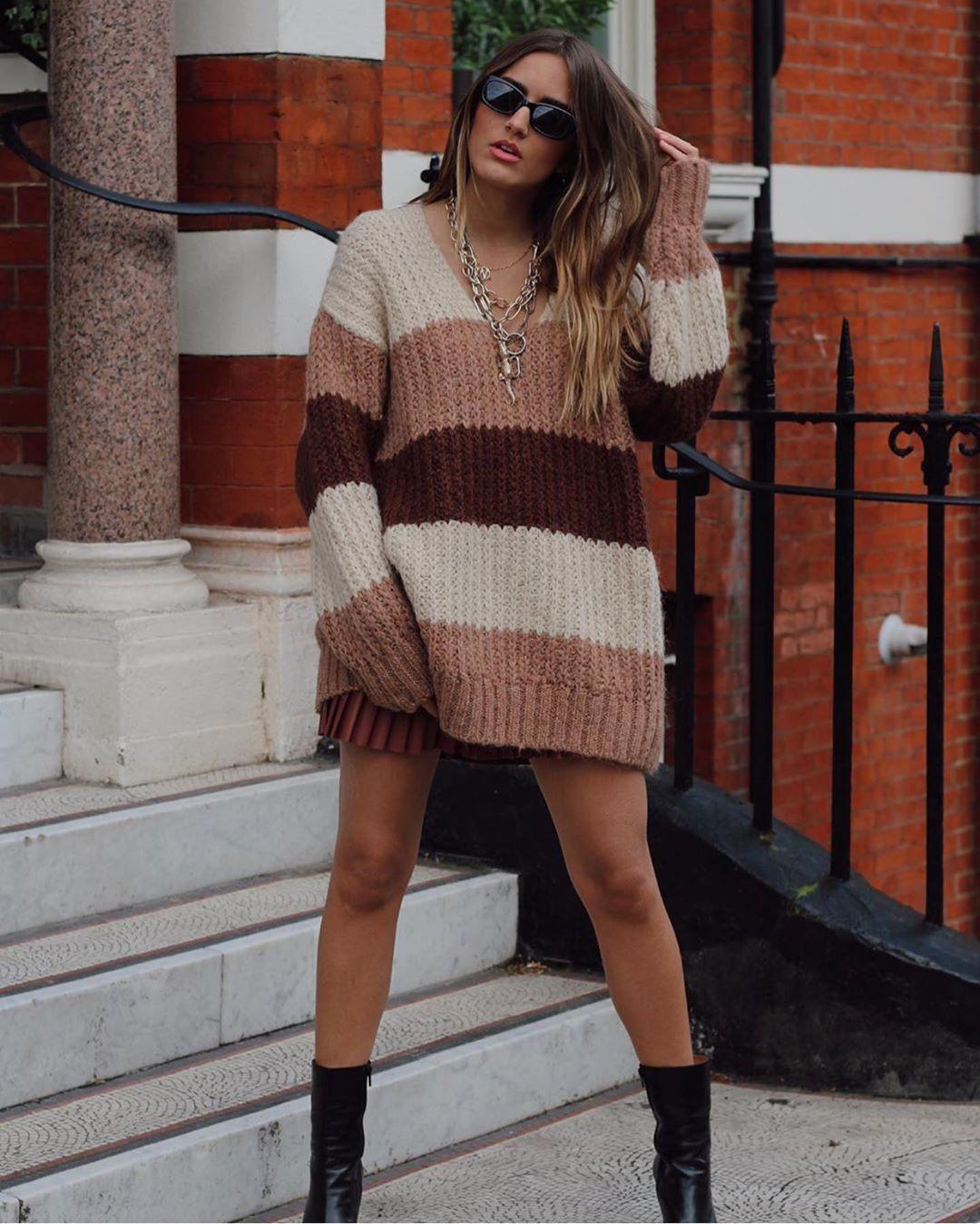 pull avec laine à rayures de Zara sur zara.outfits