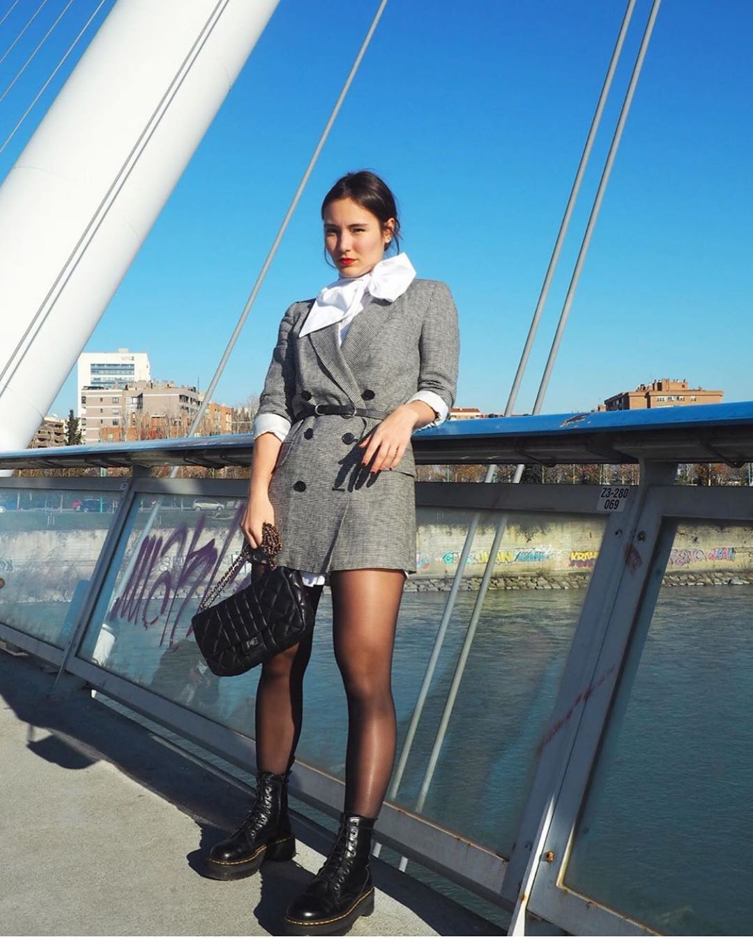 veste longue pied-de-poule de Zara sur zara.outfits