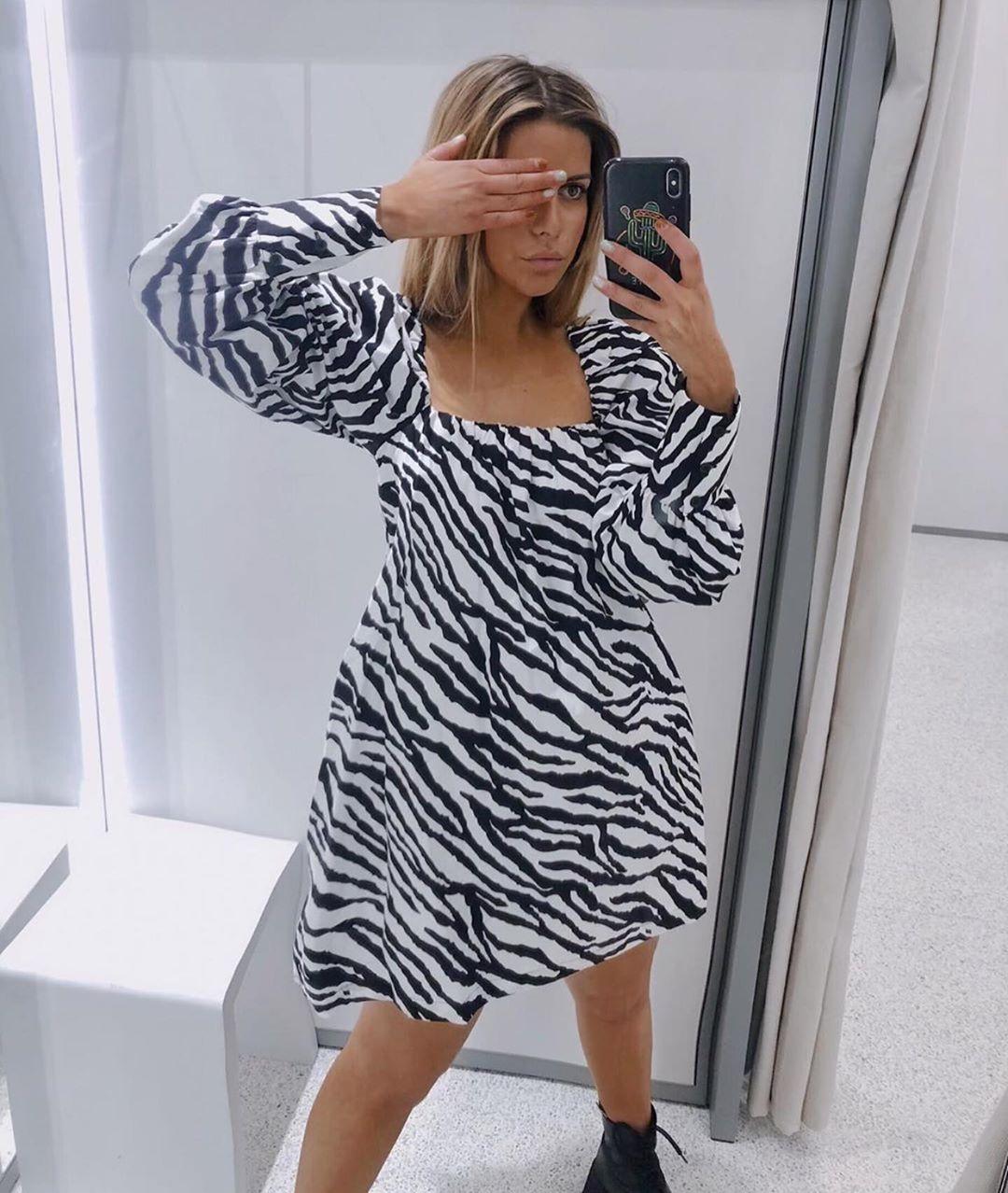 robe en popeline à imprimé animalier de Zara sur zara.outfits