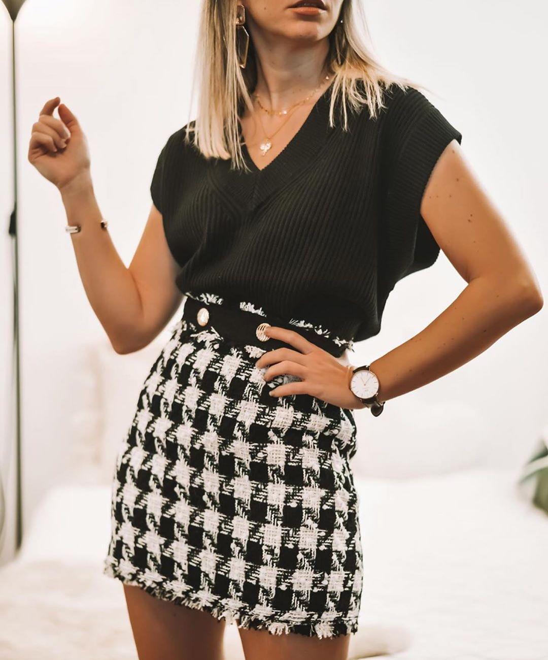 mini jupe à carreaux de Zara sur zara.outfits