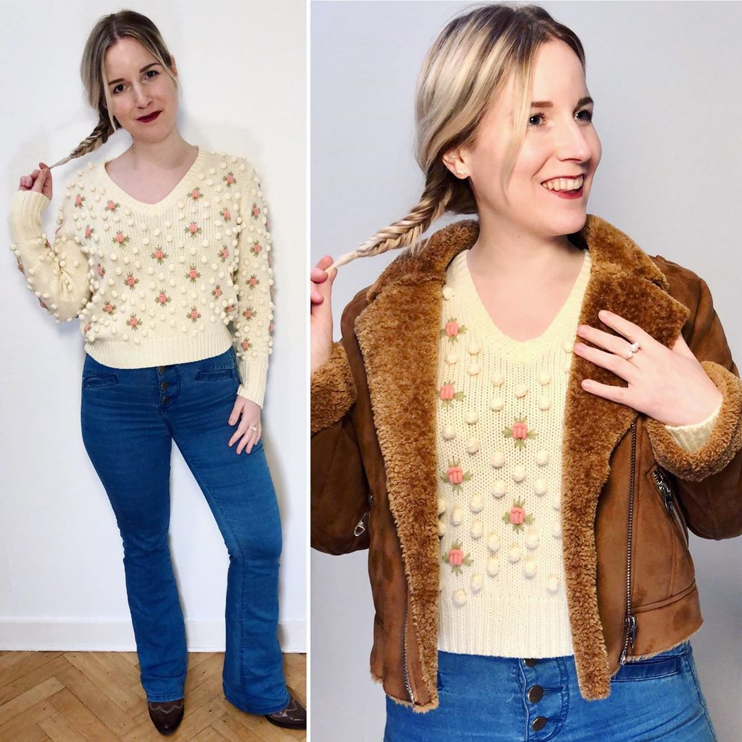 floral knit sweater de Zara sur ixelloisechic
