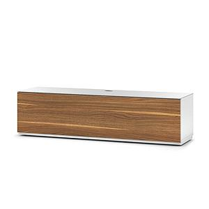 ST-160B Wood and Glass TV Stand with Hidden Wheels for Sizes up to 70